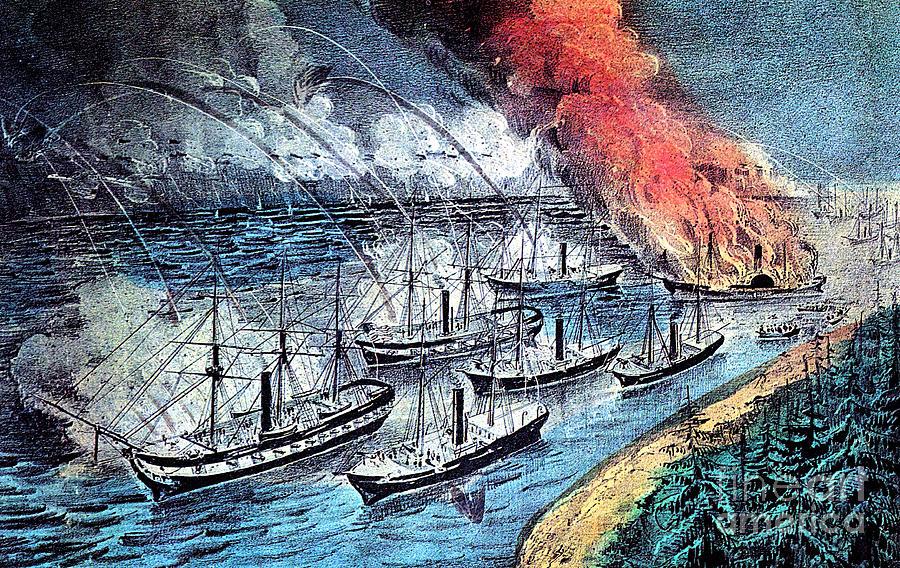 History Photograph - American Civil War, Farraguts Fleet by Photo Researchers