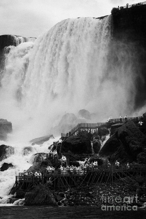 Niagara Falls Photograph - American Falls With Cave Of The Winds Walkway Niagara Falls New York State Usa by Joe Fox
