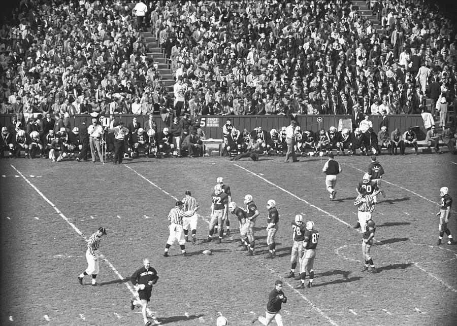 Horizontal Photograph - American Football Match, (b&w), Elevated View by George Marks