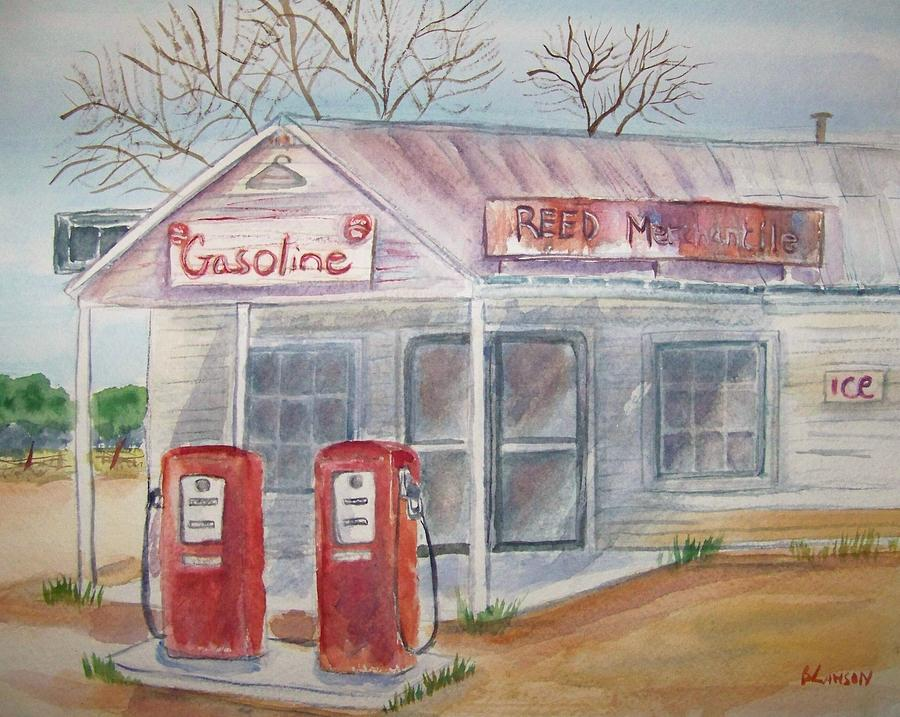 Americana Landscape Painting - American Gas Station by Belinda Lawson