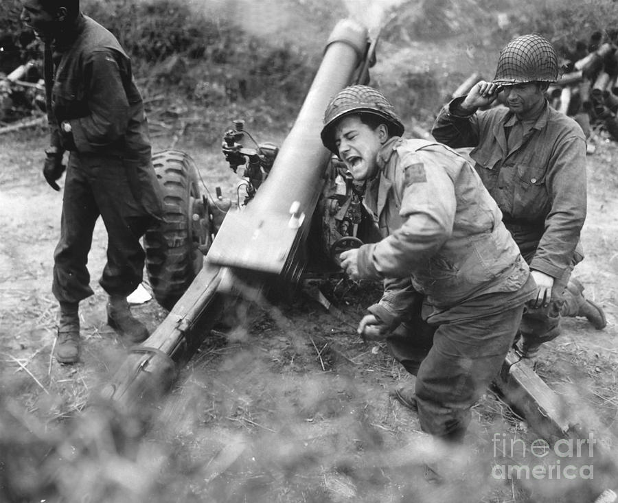 Army Photograph - American Howitzers Shell German Forces by Stocktrek Images