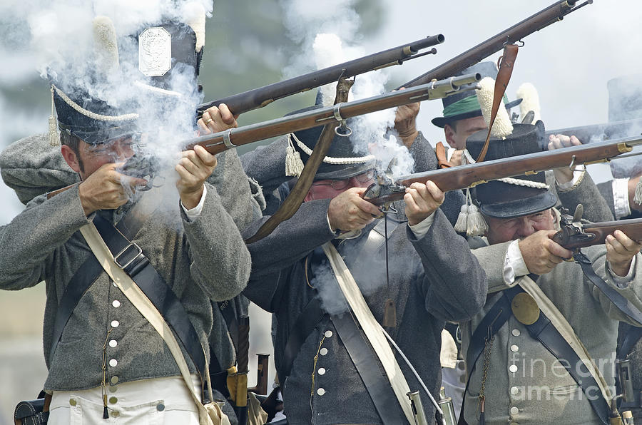 War Of 1812 Photograph - American Infantry Firing by JT Lewis