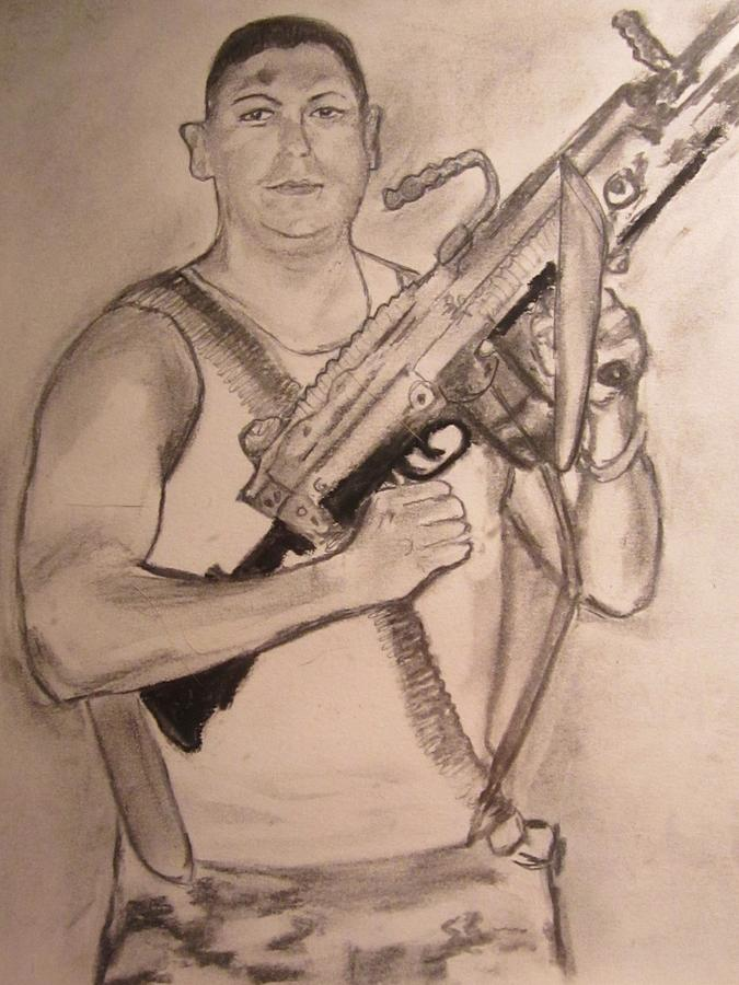 American Soldier Drawing By Susan Mcneil