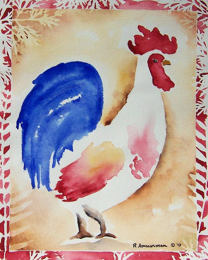 Rooster Painting - Americana Rooster by Regina Ammerman