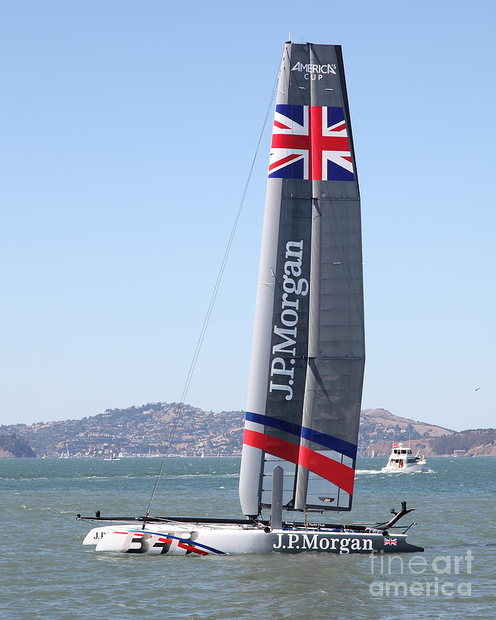 San Francisco Photograph - Americas Cup In San Francisco - Great Britain Ben Ainslie Racing Sailboat - 5d18248 by Wingsdomain Art and Photography