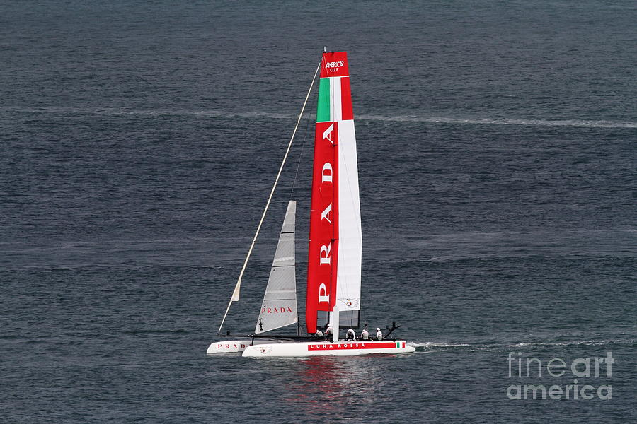 San Francisco Photograph - Americas Cup In San Francisco - Italy Luna Rossa Paranha Sailboat - 7d19041 by Wingsdomain Art and Photography