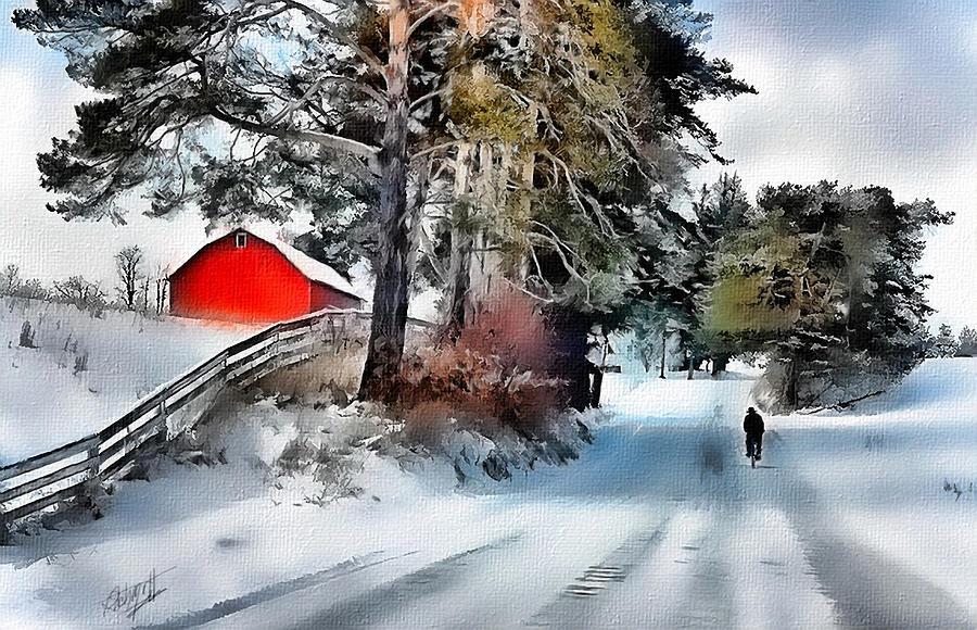 Farms Digital Art - Amish Boy On Bike by Tom Schmidt
