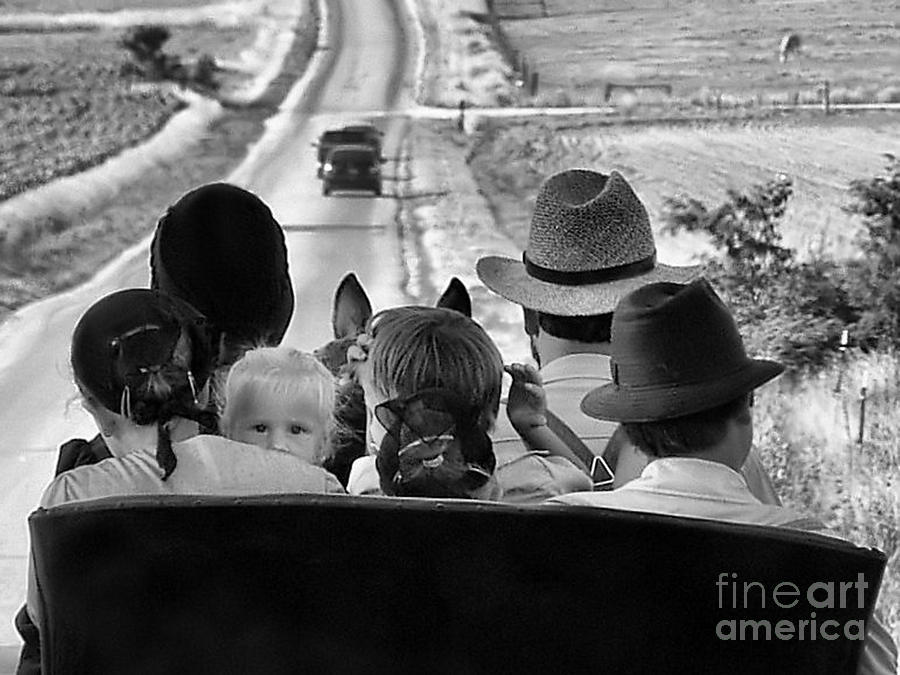 Country Scenes Photograph - Amish Family Outing II by Julie Dant