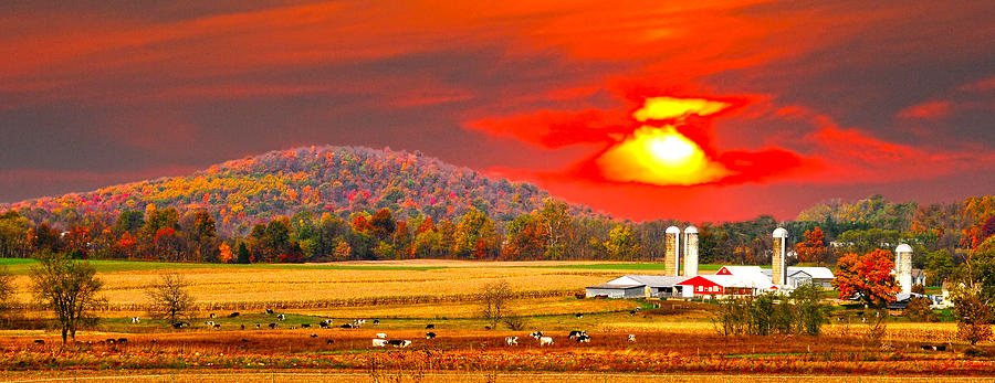 Autumn Hills Photograph - Amish Farm Sundown by Randall Branham