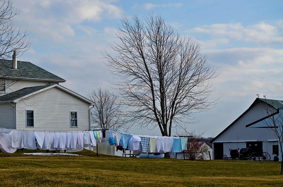 Amish Photograph - Amish Laundry by Brenda Becker