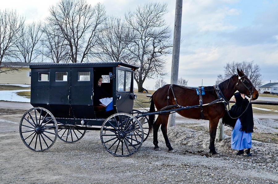 Amish Photograph - Amish Women by Brenda Becker