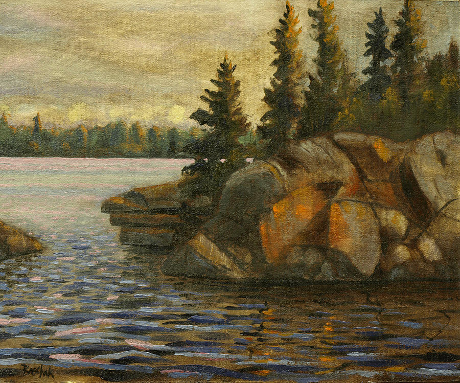 Oil Paintings Painting - Amisk Lake  by Darrell Baschak