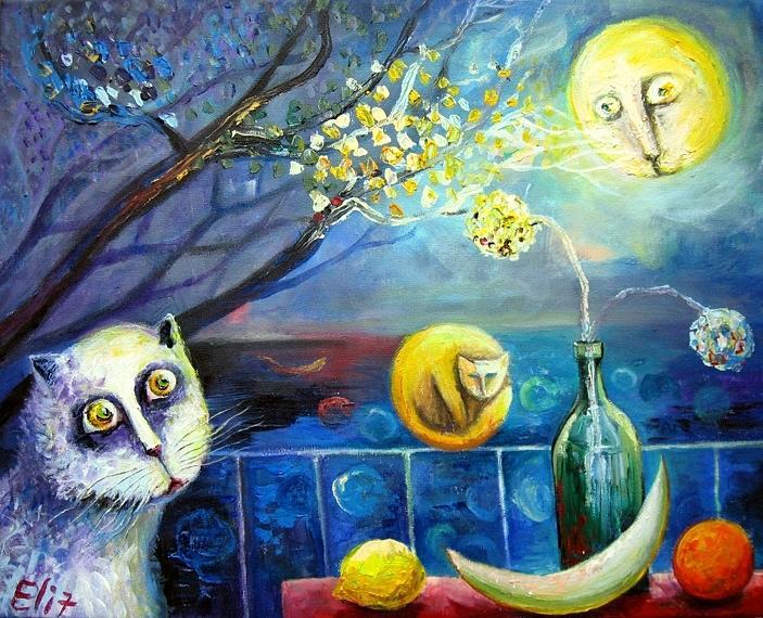 Nesis Painting - Among The Moons by Elisheva Nesis