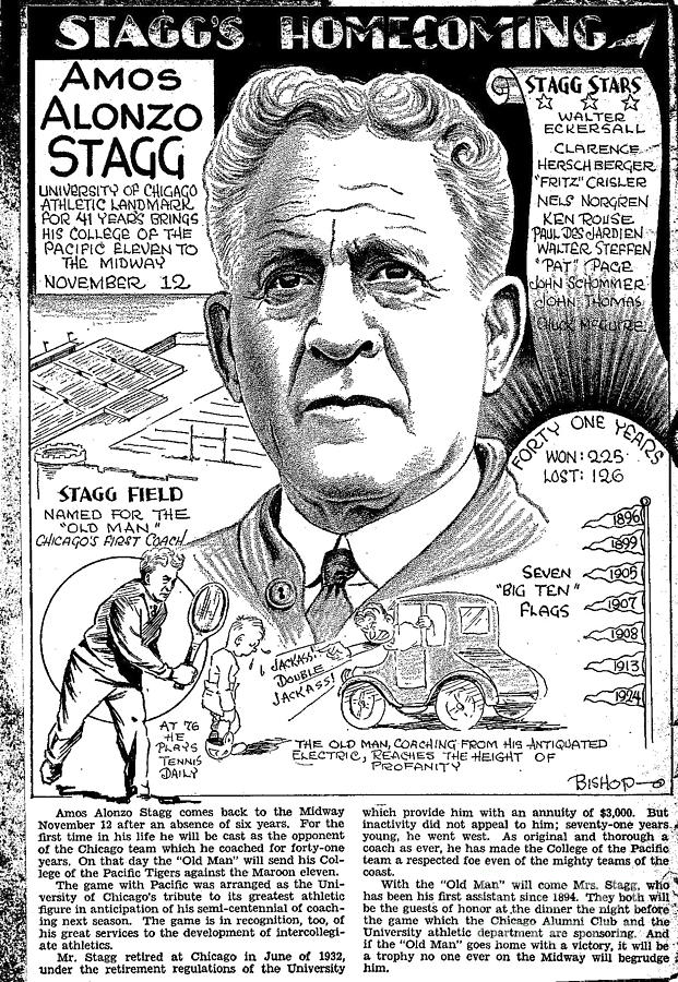 The Great Amos Alonzo Stagg Drawing - Amos Alonzo Stagg by Steve Bishop
