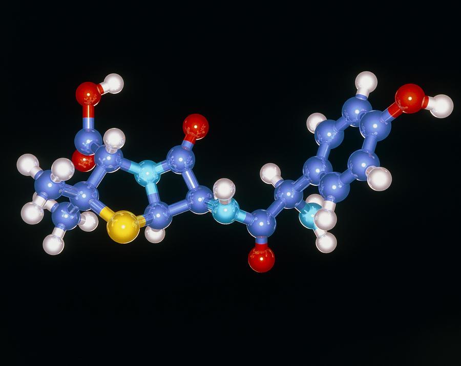 Amoxycillin Photograph - Amoxycillin Drug Molecule by Laguna Design