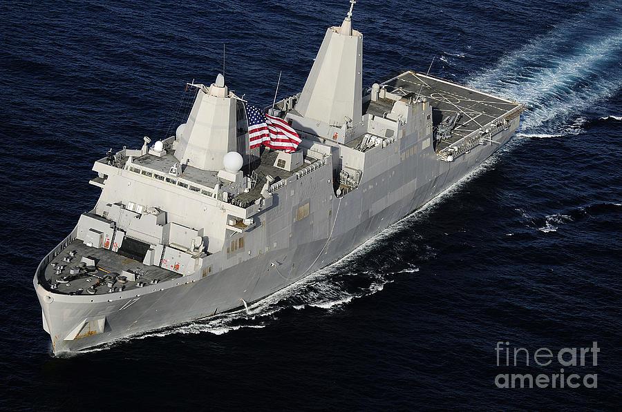 Military Photograph - Amphibious Transport Dock Ship Uss San by Stocktrek Images