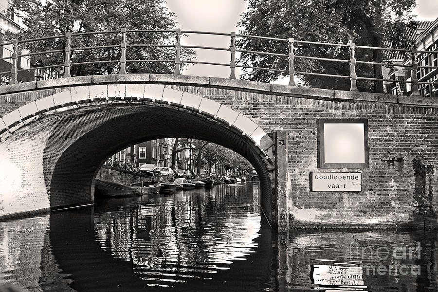 Amsterdam Photograph - Amsterdam Canal Bridge In Sepia by Gregory Dyer