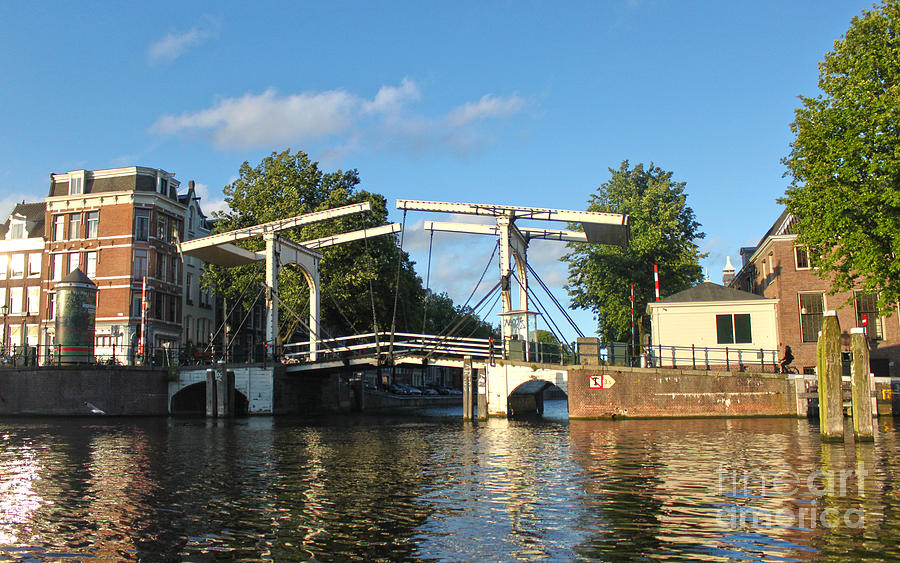 Amsterdam Photograph - Amsterdam Canal Drawbridge by Gregory Dyer