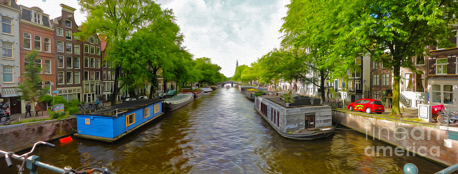 Amsterdam Photograph - Amsterdam Canal Panorama by Gregory Dyer