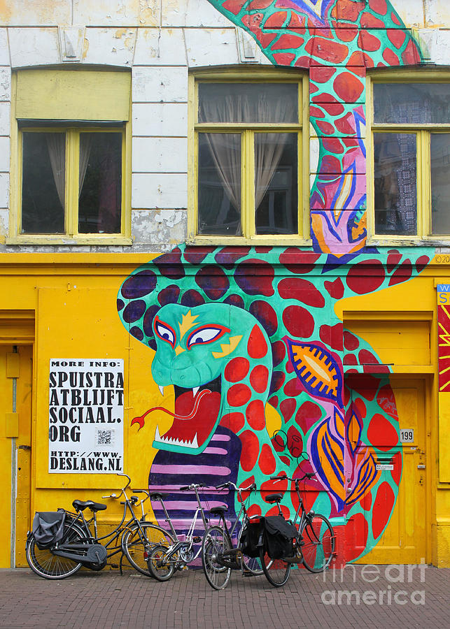 Amsterdam Painting - Amsterdam Snake Graffiti by Gregory Dyer