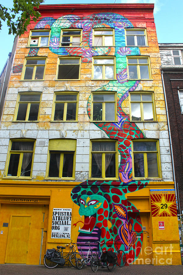Amsterdam Painting - Amsterdam Snake Graffiti Mural by Gregory Dyer