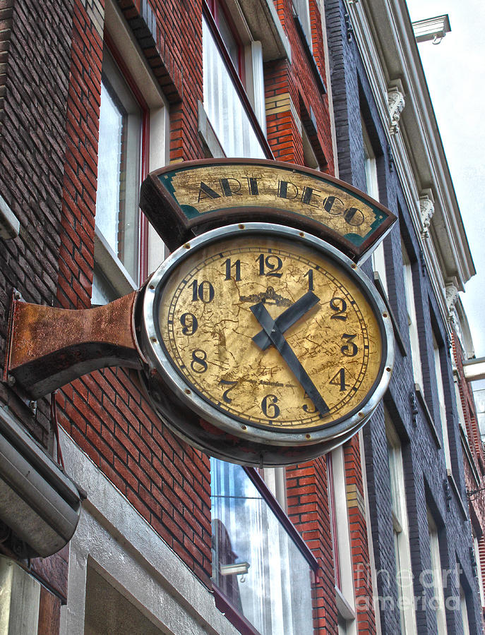 Amsterdam Photograph - Amsterdam Vintage Deco Clock Sign by Gregory Dyer