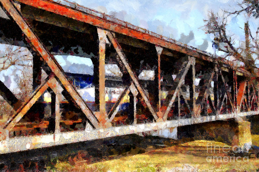 Transportation Photograph - Amtrak California Crossing The Old Sacramento Southern Pacific Train Bridge . Painterly 7d11410 by Wingsdomain Art and Photography