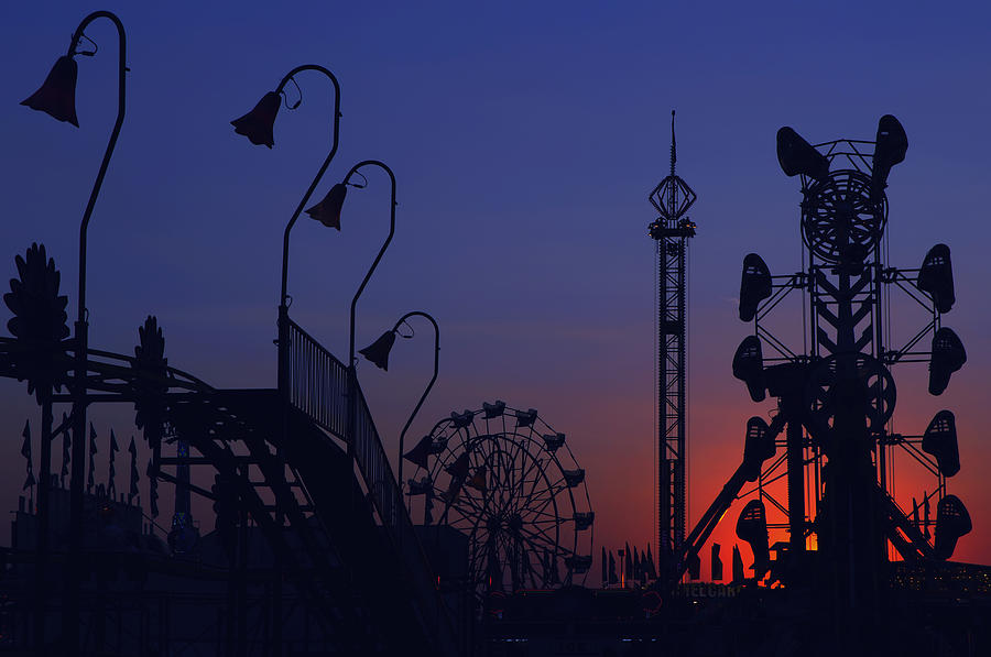 Carnival Photograph - Amusement Ride Silhouette by Michael Gass