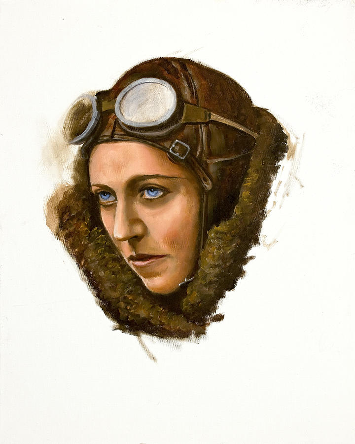 Aviatrix Painting - Amy Johnson by Karen Wilson