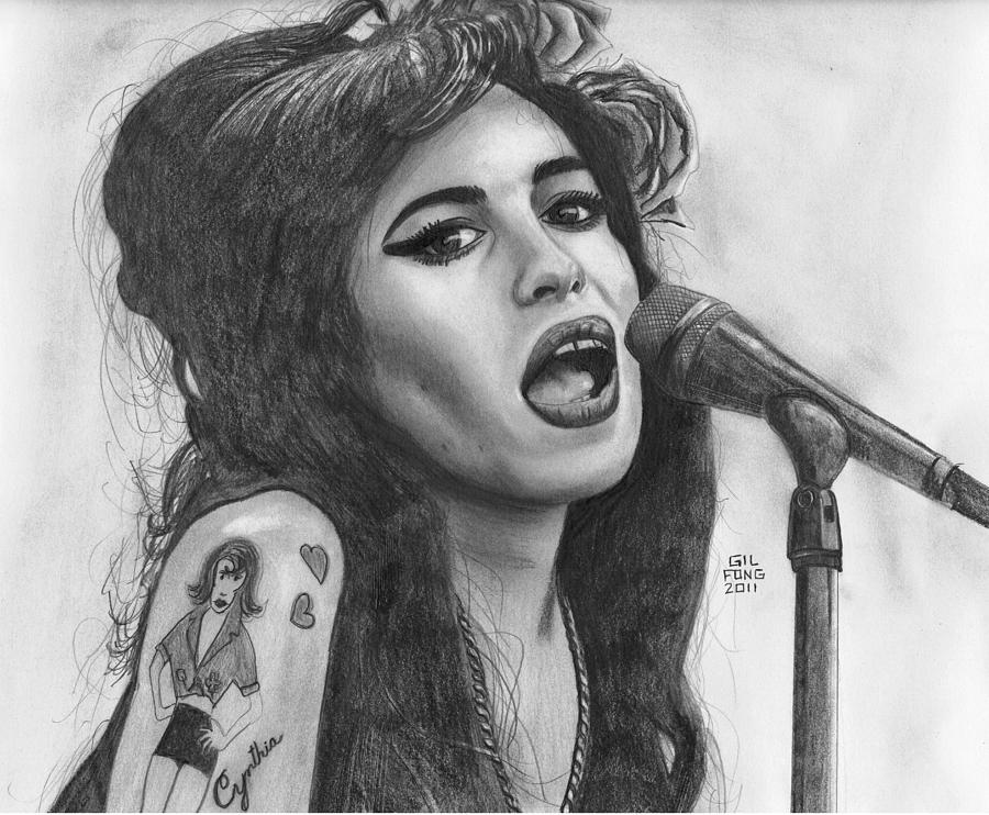 Amy Winehouse Drawing By Gil Fong