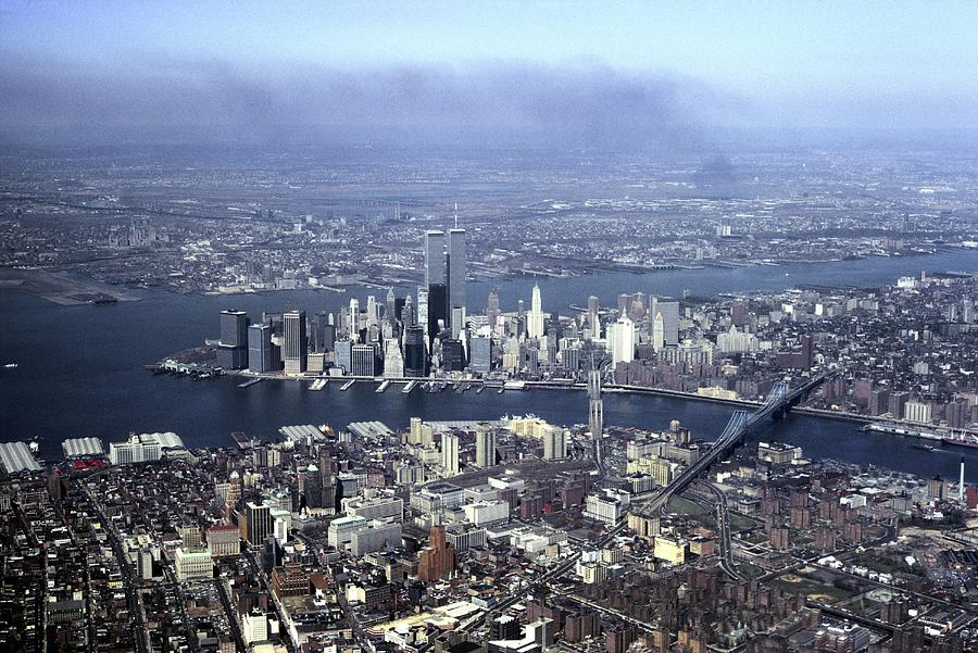 North America Photograph - An Aerial View Of The Twin Towers by Rex A. Stucky