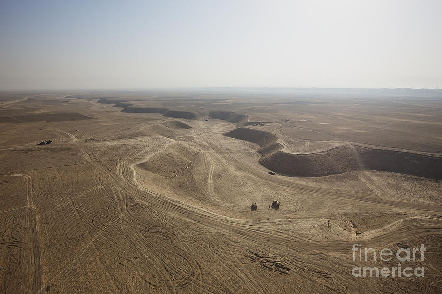 Operation Enduring Freedom Photograph - An Aerial View Of The Wadi Over Kunduz by Terry Moore