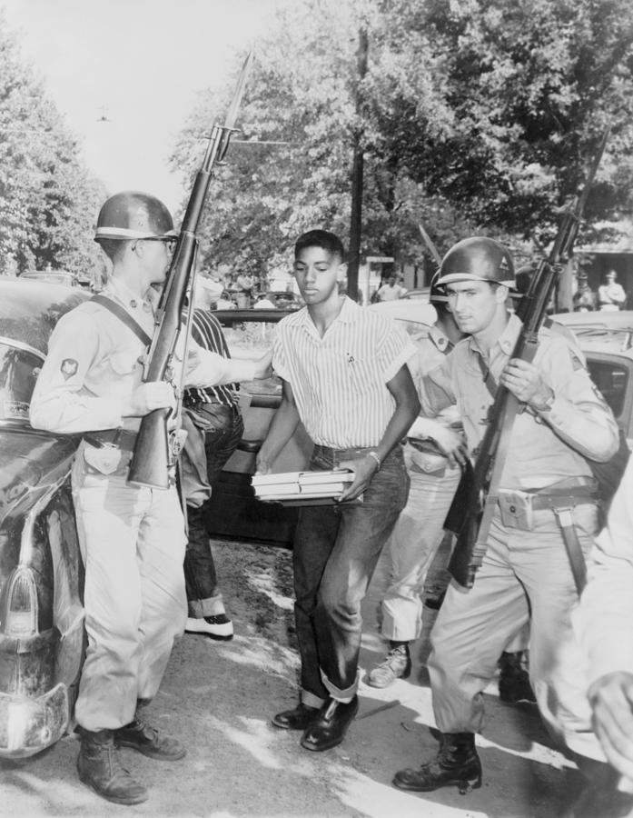 History Photograph - An African American Student Is Escorted by Everett