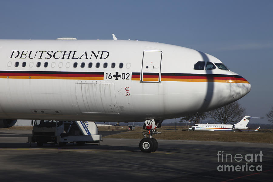Germany Photograph - An Airbus 340 Acting As Air Force One by Timm Ziegenthaler