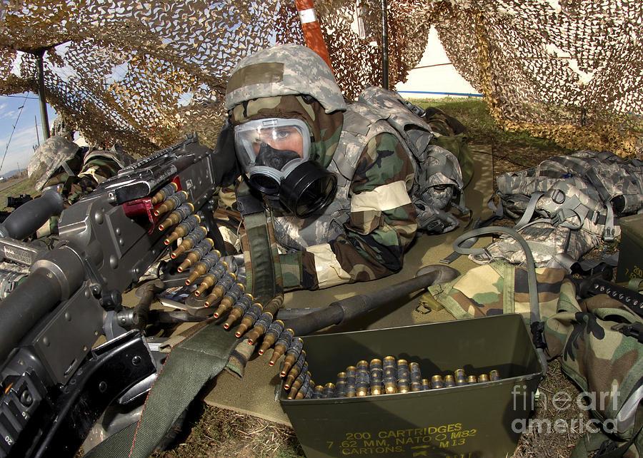 Face Mask Photograph - An Airman Defends Her Position Firing by Stocktrek Images