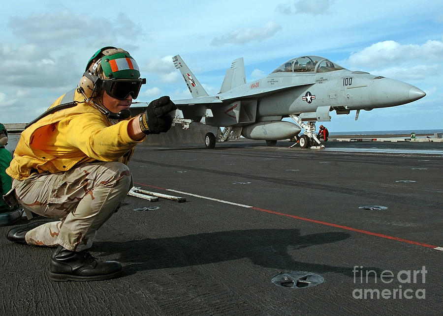 Horizontal Photograph - An Airman Gives The Signal To Launch An by Stocktrek Images