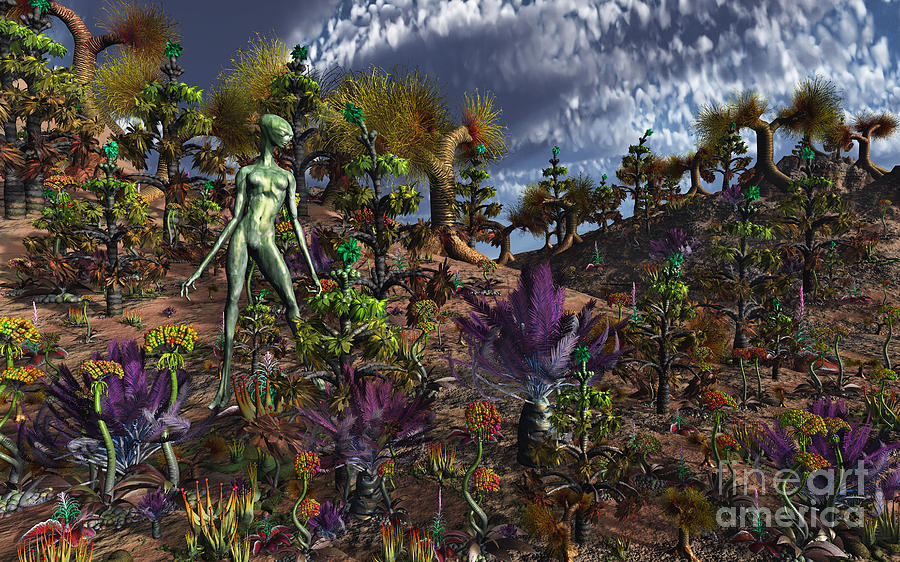 No People Digital Art - An Alien Being Surveys The Colorful by Mark Stevenson