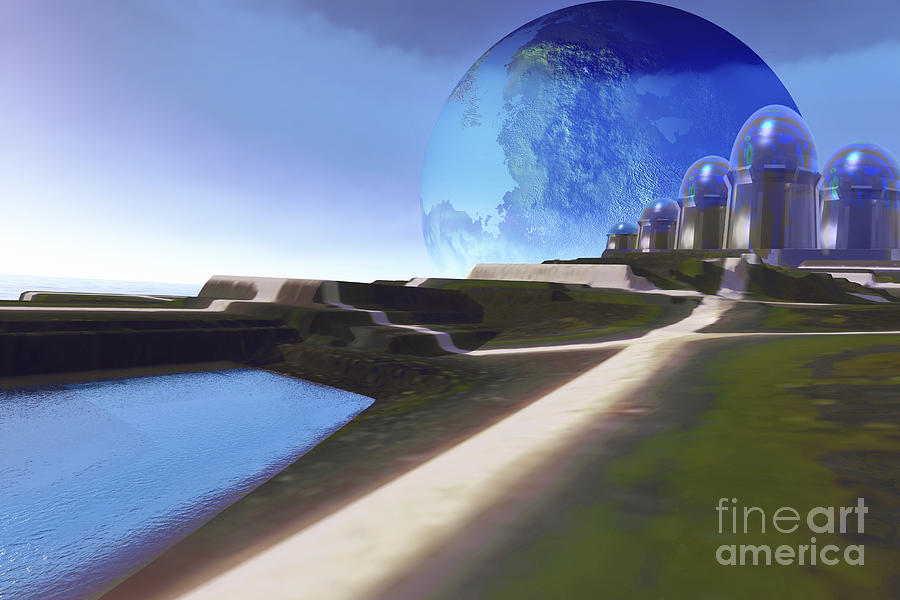 Architecture Digital Art - An Alien World With Strange by Corey Ford