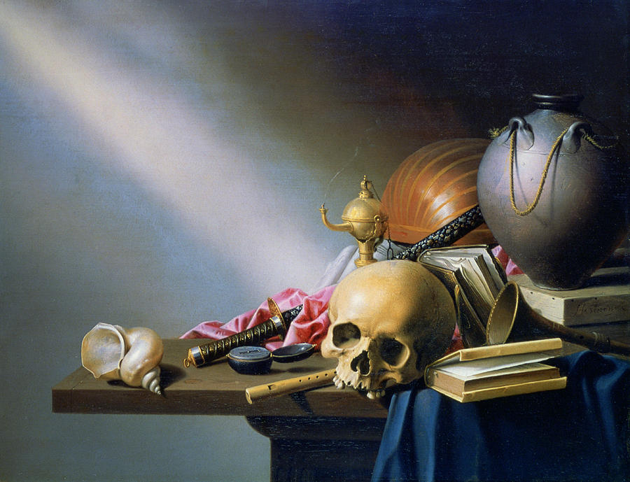 Horizontal Photograph - an Allegory Of The Vanities Of Human Life By Harmen Steenwych by Photos.com