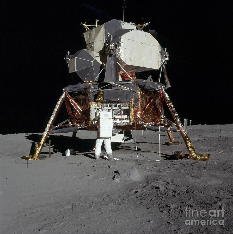 Outer Space Photograph - An Apollo 11 Astronaut In Front by Stocktrek Images