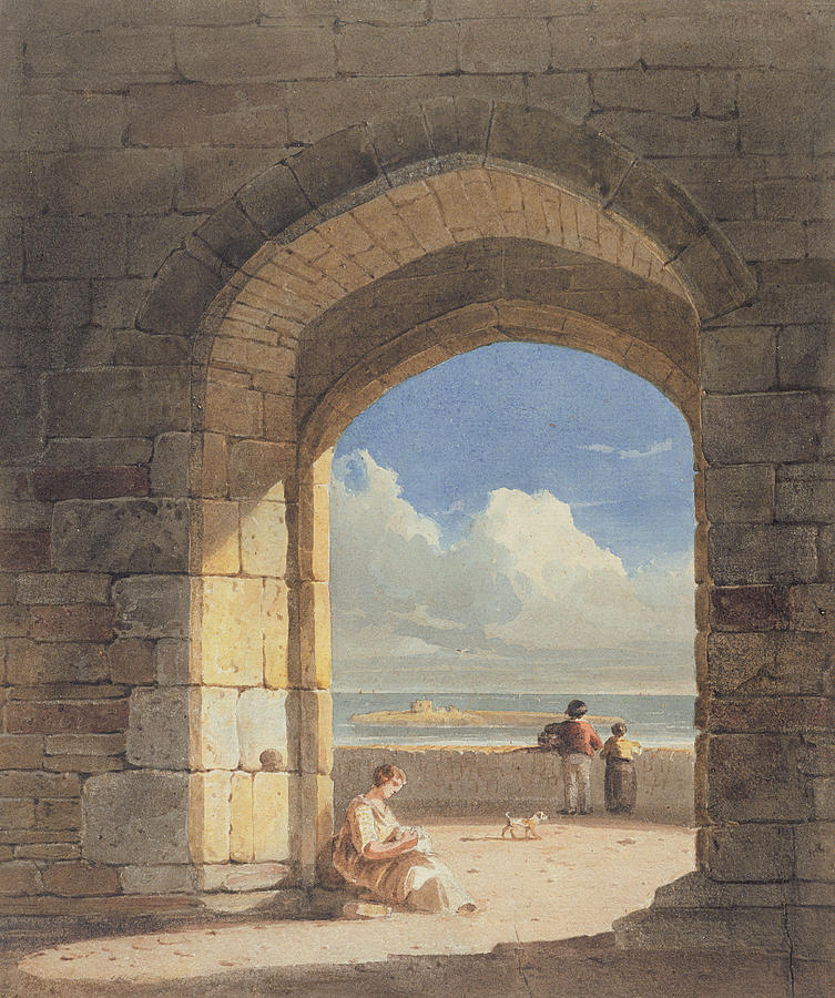 Arch Painting - An Arch At Holy Island - Northumberland by John Varley