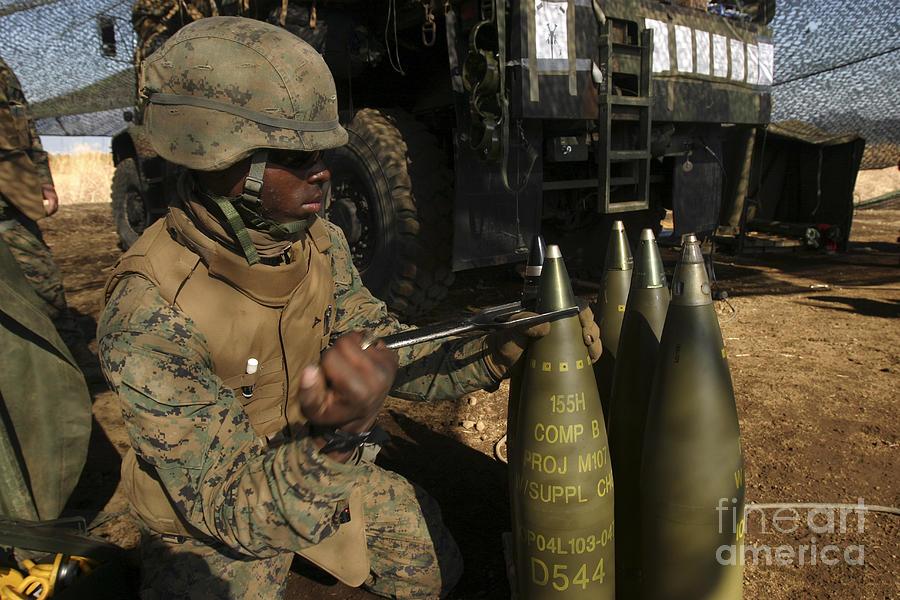 Warheads Photograph - An Artilleryman Places A Fuse by Stocktrek Images