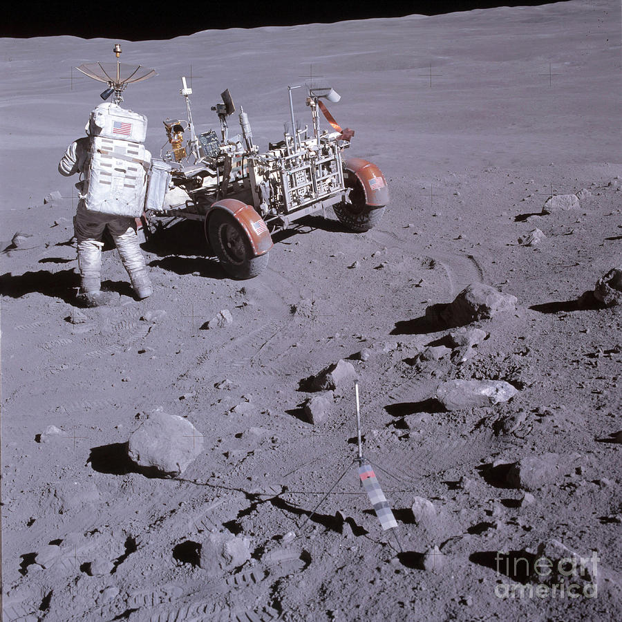 Adults Only Photograph - An Astronaut And A Lunar Roving Vehicle by Stocktrek Images