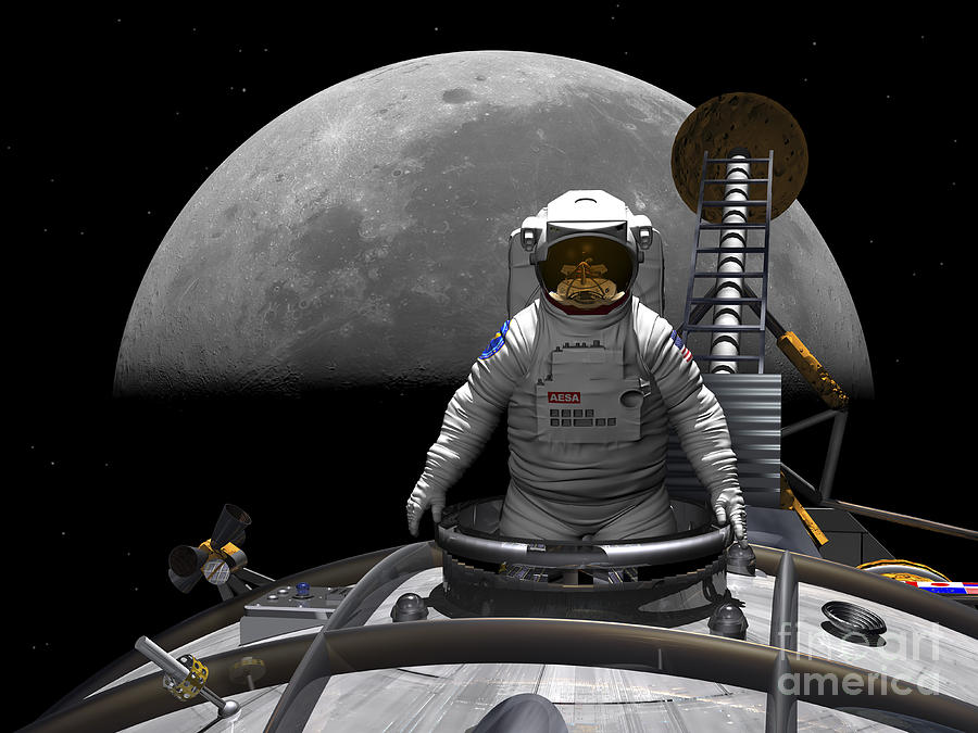 Space Exploration Digital Art - An Astronaut Takes A Last Look At Earth by Walter Myers