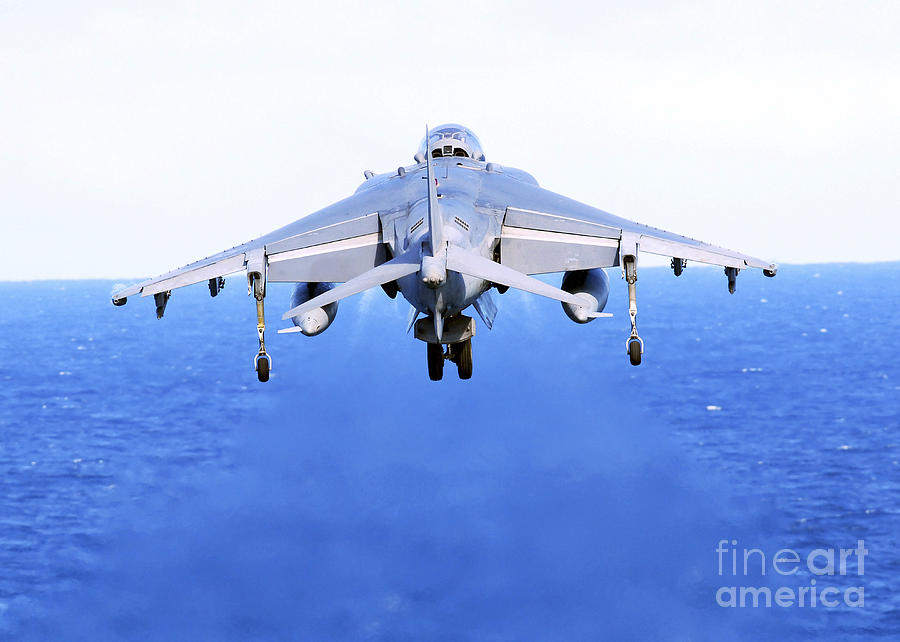 Speed Photograph - An Av-8b Harrier Jet Launches by Stocktrek Images
