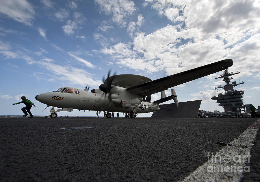 Motioning Photograph - An E-2c Hawkeye Aircraft Prepares by Stocktrek Images