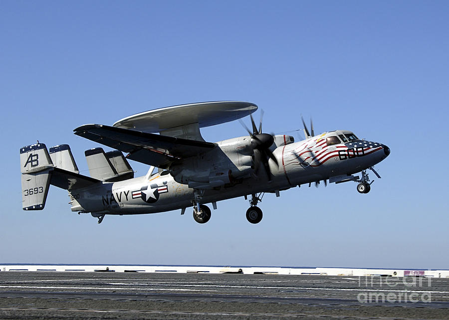 Aircraft Photograph - An E-2c Hawkeye Conducts A Touch-and-go by Stocktrek Images