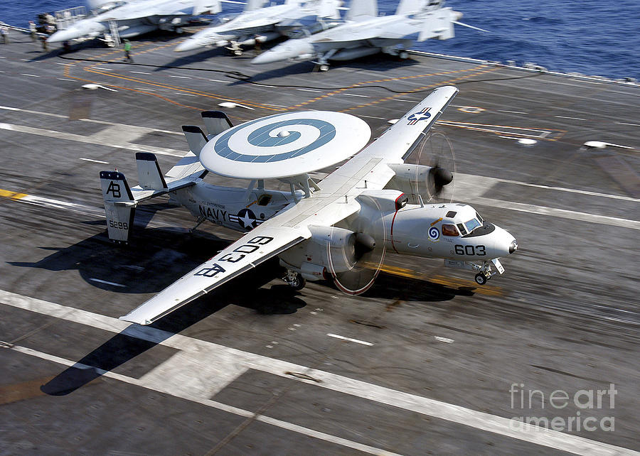 Flight Deck Photograph - An E-2c Hawkeye Lands On The Flight by Stocktrek Images