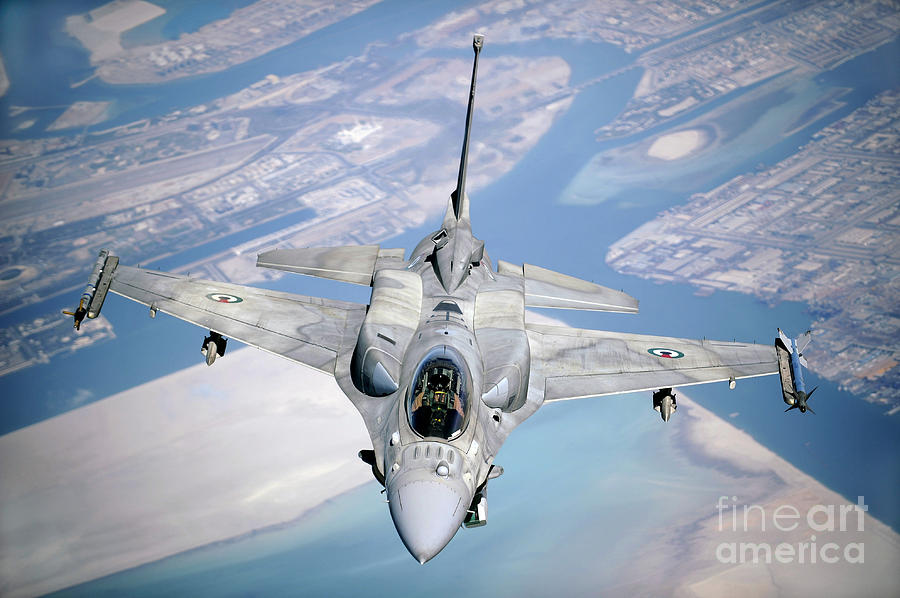 Afcent Photograph - An Emirati F-16 Conducts A Training by Stocktrek Images