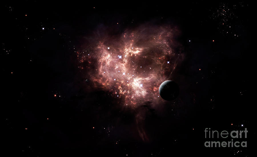 Artwork Digital Art - An Emission Nebula Is Viewed From Neaby by Brian Christensen